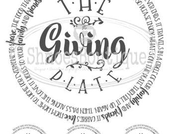 Waterslide Decals for use on Kiln Fired Pottery, Fused Glass or Enamel - The Giving Plate Poem 8x8