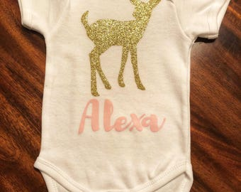 Gold Fawn personalized onesie