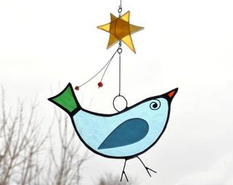 Bird Mobile - Baby Mobile - Suncatcher - Glass suncatcher - Bird suncatcher - Children mobile - kids room decor - En Bleu et Verre