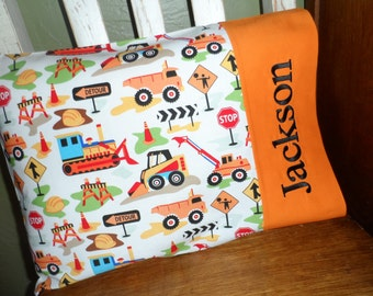Construction Zone Personalized Travel-size Pillowcase - Toddler Pillow Pillowcase - Kids Pillowcase