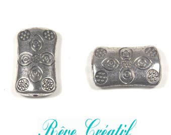 6pcs Tibetan Silver Beads, Rectangle, Antique Silver, about 22.5mm long, 13mm wide, 5mm thick, hole: 1.5mm