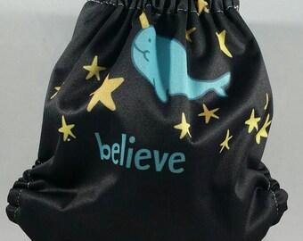 Believe in Narwhals Newborn Pocket Diaper