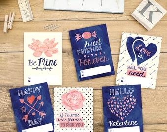 Valentine Card Printables - Instant Download - Girl Valentine's Day cards, School Valentines, Children's Valentine's Day Cards
