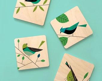 Wooden Coasters,Midcentury Modern bird coaster set, Scandinavian decor,birchwood coasters, bird lover's gift, bird coasters, modern