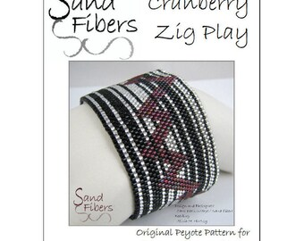 Cranberry Zig Play Peyote Cuff / Bracelet - A Sand Fibers For Personal/Commercial Use PDF Pattern