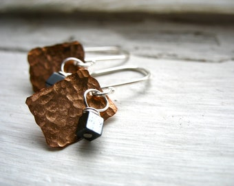 Copper Earrings, Hematite Earrings, Handmade Hematite Earrings, Copper Stone Jewelry, Gemstone Jewelry, Copper Earrings