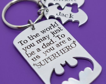 Fathers Day Gift - Daddy Son - Daddy Daughter - Fathers day gift - Dad Keychain - DAD Gift - Superhero Dad - Daddy and Kids