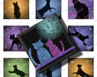 Curious Cats Digital Collage Sheet Inchies