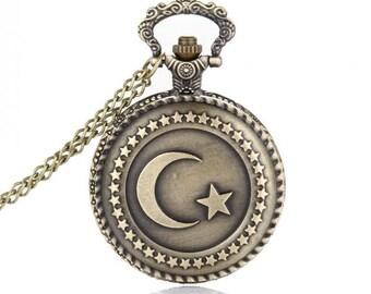 Quartz Pocket Watch With Necklace Chain