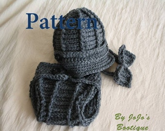 PDF Newsboy Hat, Cover and Bow Tie PATTERN - Baby Newsboy Hat , Cover and Tie Crochet Pattern - Newborn to 3 Month Sizes - by JoJosBootique