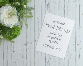 1 Samuel 1:27 Bible verse digital art print | Quote digital art print