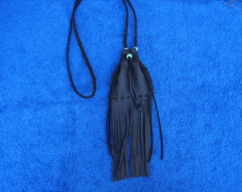 Leather Medicine Bag, Native American, Necklace Pouch, Fringed Leather, Maountain Man