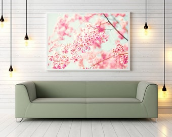 Extra large wall art, large wall art, large canvas art, large art, large wall art canvas, large framed wall art, cherry blossom art, pink