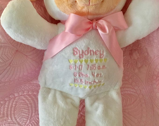 Personalized Plush Cuddly Lamb Toy, Baby Shower Gift, Stuffed Animals, Baby Boy Gift, Baby Girl Gift, Custom Embroidered Baby Stats