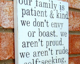 Family Resolutions from I Cor. 13 - Distressed Antique White with Grey
