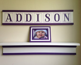 Personalized nursery name sign/child's name sign/custom kid's name sign/baby girl nursery/amethyst white nursery decor/nursery wall decor