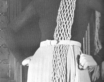 PDF Crochet Scarf Pattern, Trellis Stitch, vintage, 1970s, instant download