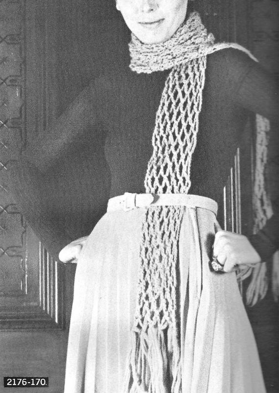 Pdf Crochet Scarf Pattern Trellis Stitch Vintage 1970s