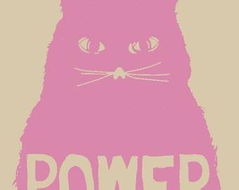 Pussy Power Screenprinted Art Print 9X12 Brian Methe