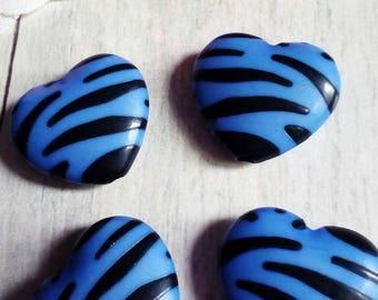 Set of 4 large Blue Zebra heart shaped beads