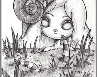 Day #78 - Snail farm - buried alive  original sketch a day drawing! 5.5 x 8.5