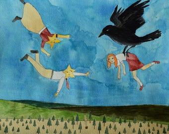 The Night Bird Introduces Annabelle to the Star Folk original art illustration painting