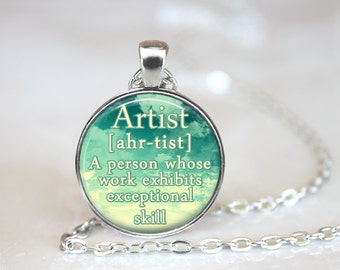 Artist definition etsy artist necklace gift for artist definition pendant artist jewelry sky blue artist quote necklace gifts for mozeypictures Gallery