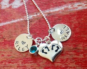 Personalized Twins Jewelry Mom's Necklace Mothers Day birthstone pendant