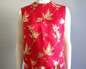 60s Asian CHINESE SILK top and skirt in red and gold size medium from Saks