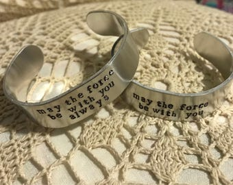 May the Force Be With You Always / Don't Antagonize the DM / Custom Text Metal Stamped Cuff Bangle Bracelet