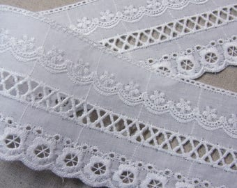 Natural Embroidery Cotton Eyelet Lace Trim White 5yards #mj