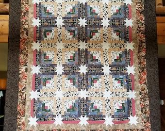 Log Cabin quilt, handmade
