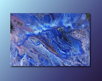 Art Print: Lost At Sea; abstract fluid art acrylic pour painting; blue ocean; wall art print; housewarming gift