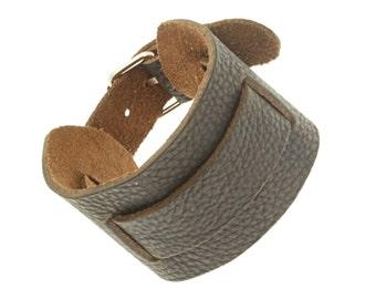 Wide Very Dark Brown Leather Cuff Wrap Around Bracelet - 258