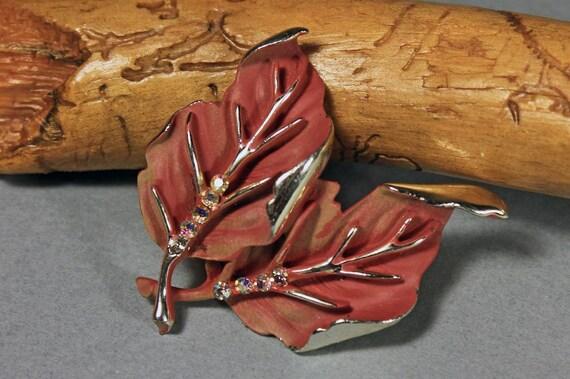Leaf Brooch, BSK Jewelry, Enamel, AB Rhinestones, Autumn Leaves, Gold Plated Back, Locking C Clasp, Leaf Pin, Ladies Jewelry