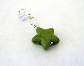 Green Star Charm with Lobster Clasp Stone 15mm