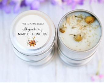 Will you be my Maid Of Honour, Bridesmaids' gifts, Party Gifts, Hens Party, Candle Bomboniere, Bridal Shower, Bacherlorette, Thank you gifts
