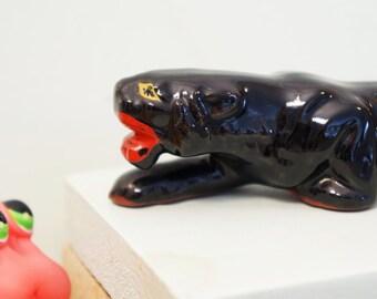 Black Panther Figurine/Redware Cat/Black Cat/Black Wild Cat Figurine/Red Ware Black Cat/Mid Century Black Cat/Made In Japan/Jungle Cat Japan