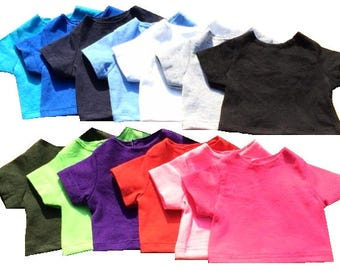 """Cotton T shirt for 18"""" dolls in 13 colors with full back hook and loop tape closure"""