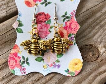 Bees Drop Earrings Birthday Gift Unique Industrial Earrings Bridesmaids Handmade