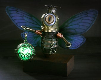 Little Steampunk Fairy Minion Robot Sculpture with glowing lantern