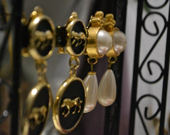 Vintage Set| Tiger Engraved Earring and Pearl Earring set| Clip On