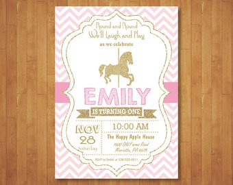 Pretty Carousel Birthday Invitation Carousel Party