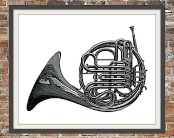 French Horn - a counted cross stitch pattern