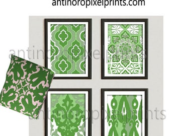 Art Ikat Damask Greens  White Prints, Set of (4) Wall Art Prints, Custom Colors Sizes Available (Unframed) #267730579