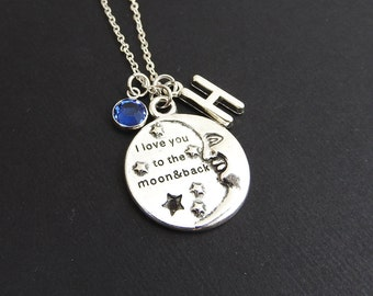 I Love You To The Moon And Back Necklace - Custom Couple's Necklace, Personalized Initial Name Couples Necklace, Swarovski birthstone