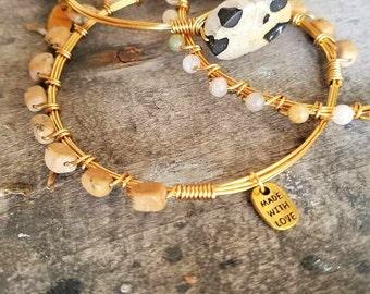 Agate Gemstone Bangle Stack, stack stone bangle stack, small stone bangles, Natural stones, gemstones, bracelets, bangles, agate bangles