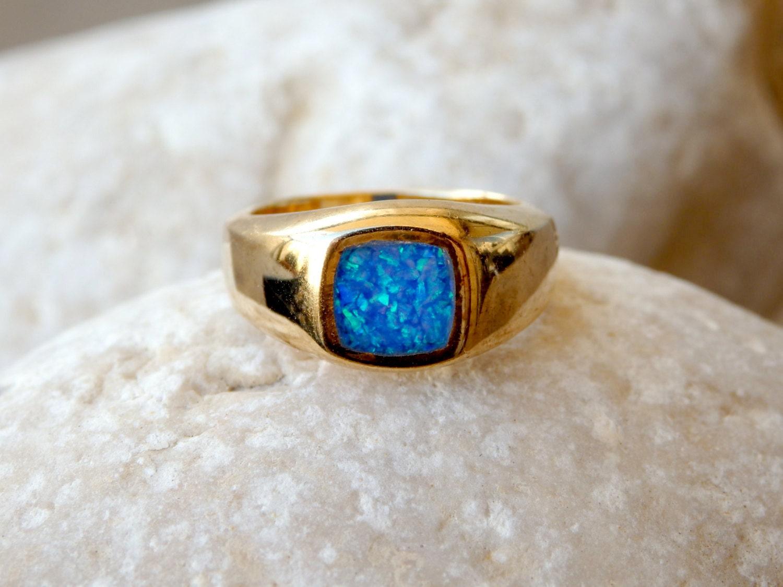 Opal Gold Signet Ring Fire Opal Signet Ring Blue Signet