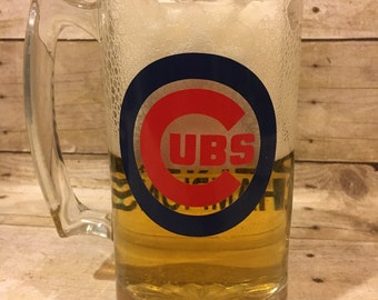 Chicago Cubs, 2016 World Series Champions, Cubs Beer Mug, Man Cave Gift, Gift for Dad, World Series Cubs Beer Mug