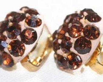 Earrings Brown Rhinestone Button Clip On Enameled